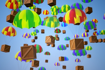 descend: Image illustrating parachute crates delivery on a blue sky background. Refers to shipment, express transportation and distribution.