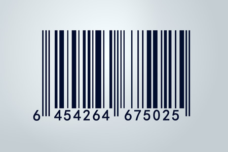 An isolated barcode on a white background .Closeup on array of digits. photo