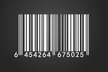 An isolated barcode on a dark background .Closeup on array of digits. photo