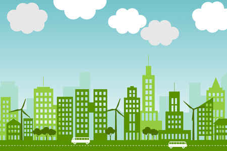 Illustration of green, eco-friendly city with wind turbines and trees. Imagens