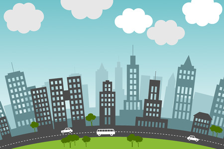 recurrence: Vector image of city skyline with skycrapers.