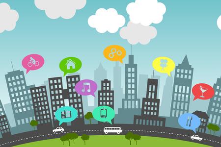 삽화는 도시 거주자의 일상 생활에서 소셜 미디어의 존재를 제시합니다.