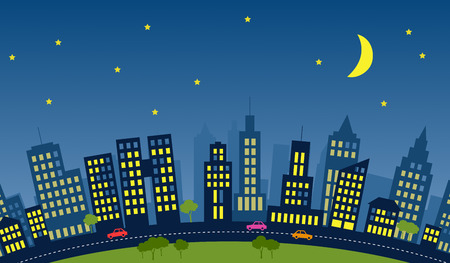 recurrence: Skyline of a city with skycrapers during night.