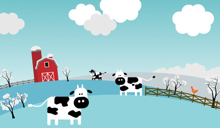 snow field: Illustration presents winter on the farm. Three cows, a chicken and a barn in the background.