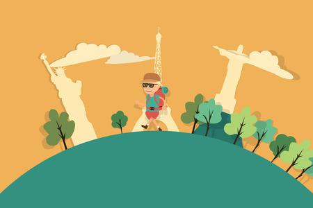 popup: Man Walking With International Landmarks In Background