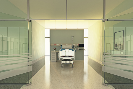 sickroom: Interior Of Modern Hospital Room With Bed And Medical Equipment