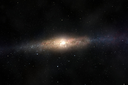 interstellar: Spectacular view of a glowing galaxy, consisting of planets, star systems, star clusters and types of interstellar clouds. Space dust