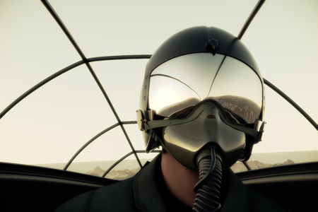 Pilot Wearing Mask And Helmet In Cockpit Of Fighter Jet. 免版税图像