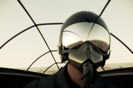 piloto: Piloto con máscara y casco en carlinga del avión de combate.