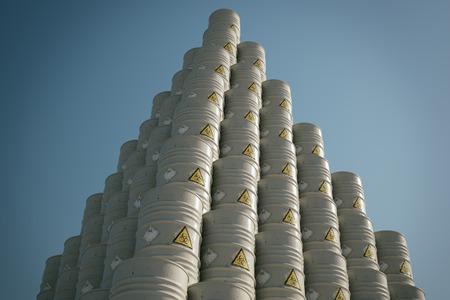 ecoli: Barrels With Dangerous Biohazard Waste Pyramid Pile. Stock Photo