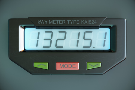 electricity meter: Digital electricity meter showing household consumption in kilowatt hours. Electric power usage.