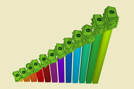 stockmarket chart: Rising Business Graph With Financial Profit Stock Photo