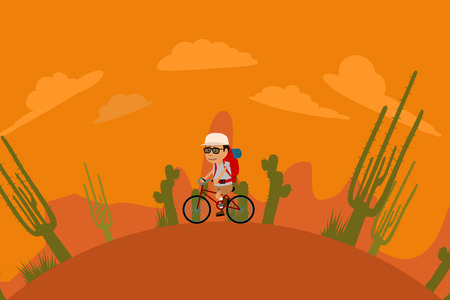 barren: Tourist With Backpack Riding Bicycle In Desert