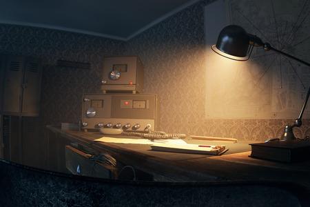 old desk: Vintage Old Radio On Desk With Lighted Lamp