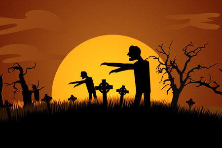 spooky graveyard: Silhouette Of Creepy Zombie Rising At Spooky Graveyard Against Moonlight