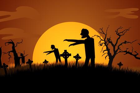 spooky graveyard: Silhouette Of Creepy Zombie Rising At Spooky Graveyard Against Moonlight