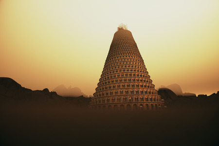 strives: Conceptual image of the Tower of Babel disappearing upwards into the mountain mist as it strives to reach heaven