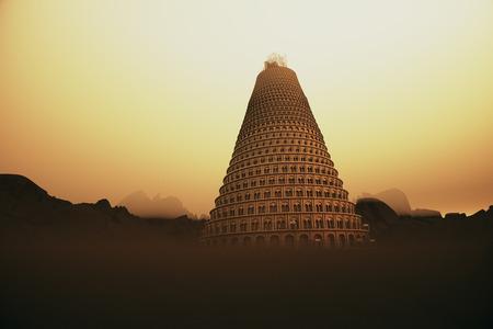 Conceptual obraz wieży Babel górę znikając we mgle górskiej, gdyż stara się dotrzeć do nieba