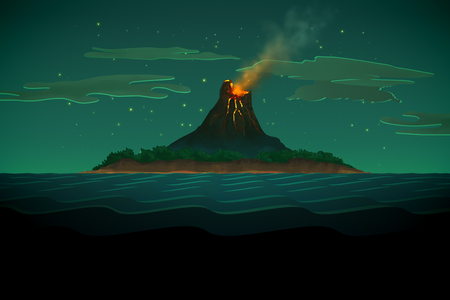 castaway: Pirate On Boat In Calm Ocean With Volcano Mountain In Background