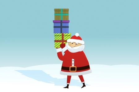 apilar: Papá Noel que recorre en la Winter Landscape llevar cajas de regalos Foto de archivo