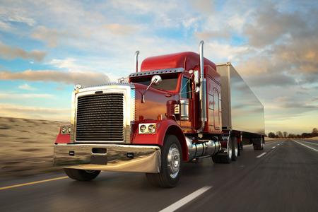 Camion de roue 18 sur la route au cours de la journée. Vue de côté. Banque d'images - 47638638