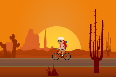 desert sun: Tourist Travelling On Bicycle In Desert With Sun And Rock Formations In Background