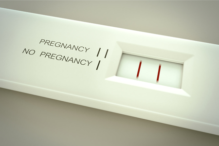 Pregnancy test in action.Two lines in result window means pregnant. Stock Photo