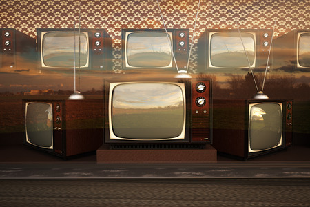 tv sets: Exhibition Of Old Retro Color Tv Sets With Antenna Stock Photo
