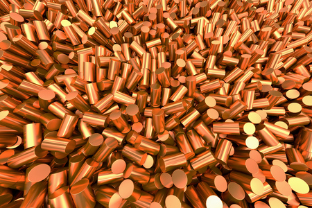 galvanize: Close up of pure copper cylindrical granulate.