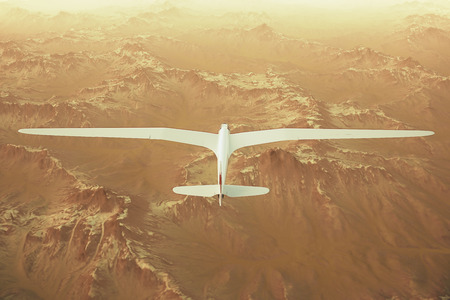 snow covered mountains: Sepia toned render of a sailplane soaring over snow covered mountains.