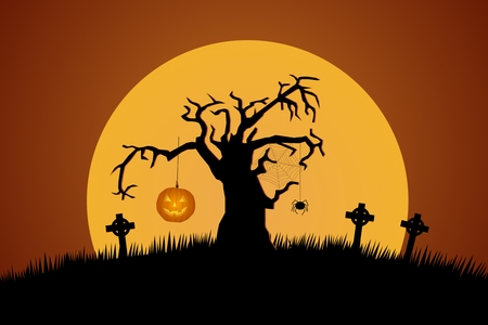 moonlit: A Creepy Graveyard Halloween Background Scene With Graves, Evil Pumpkins on Trees, And Spooky Moonlit Sky