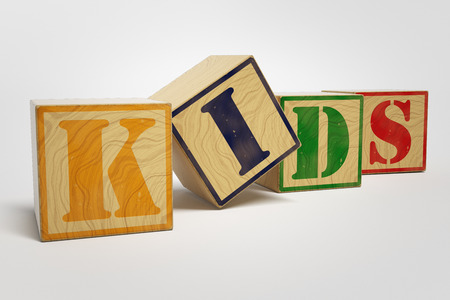 Word Kids On Wooden Blocks
