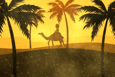desert storm: Silhouette Of A Tourist Travelling On Camel In Sandstorm Stock Photo
