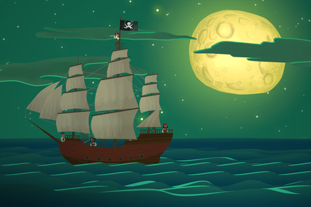 Pirate Ships In Sea With Big Moon In Background