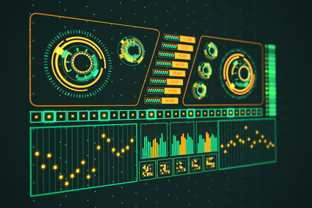 fluctuate: Futuristic Graphic User Interface Fluctuating Graph Ratio Stock Photo