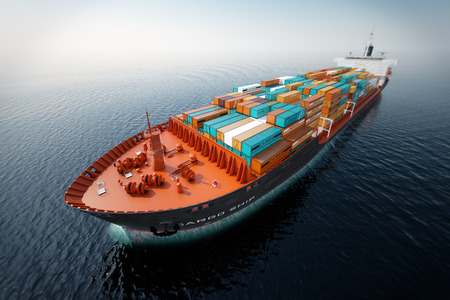transporte: CG aérea tiro do navio de recipiente no oceano. Banco de Imagens