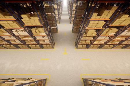 Warehouse interior with racks and crates Foto de archivo