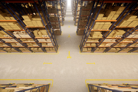commercial: Warehouse interior with racks and crates Stock Photo