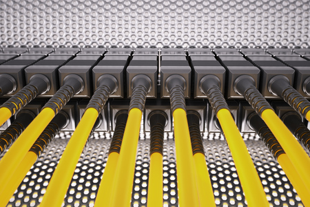 fibre optic: Fibre optic cable connected to an optic ports in a datacenter.