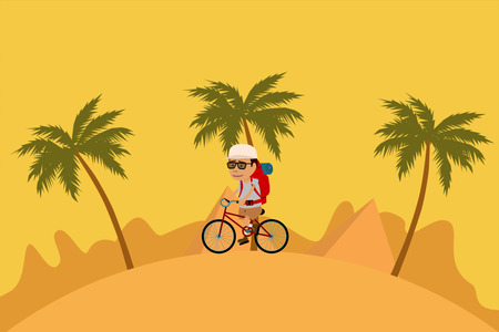 Man With Backpack Riding Bicycle In Desert And Forest Stock Photo