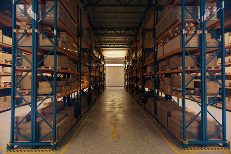 Warehouse interior with racks and crates Stock Photo