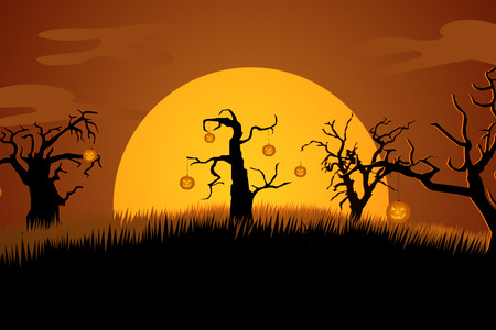A Creepy Graveyard Halloween Background Scene With Graves, Trees And Spooky Moonlit Sky