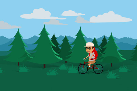 Tourist With Backpack Travelling On Bicycle In Forest Stock Photo