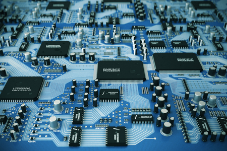 Shot of integrated circuit board.