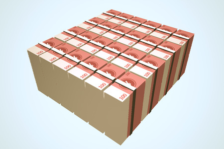 Stacks Of Chinese Yuan Notes Stock Photo