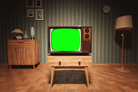 old fashioned tv: Authentic Static On Old Fashioned TV Screen At Home Green Screen