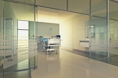 Interior Of Modern Hospital Room With Bed And Medical Equipment