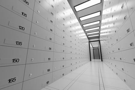 Safe Deposit Lockers In A Bank Archivio Fotografico