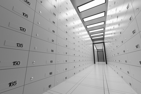 Safe Deposit Lockers In A Bank Stock Photo