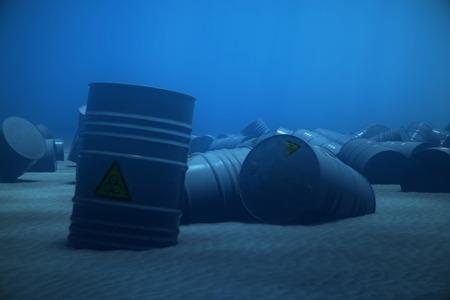 barell: Barrels With Dangerous Biohazard Waste Dumped Underwater.